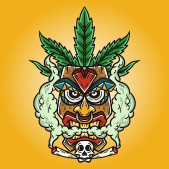 Illustration of a tiki mask with a skull on his chin and a cannabis leaf on his head on yellow background