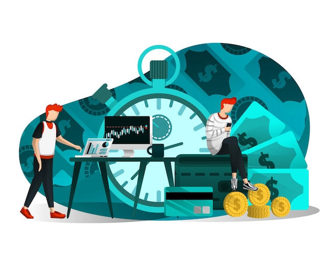 Illustration of time is money