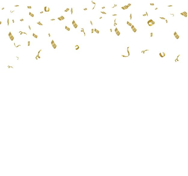 Illustration tiny confetti with ribbon on white background