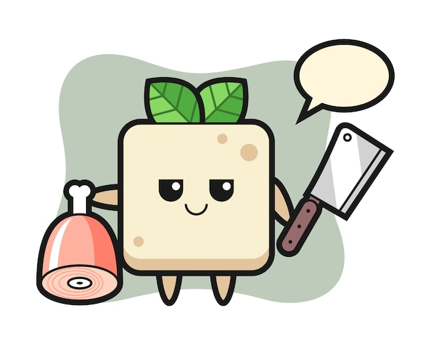 Illustration of tofu character as a butcher, cute style design for t shirt