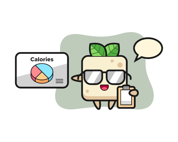 Illustration of tofu mascot as a dietitian, cute style design for t shirt