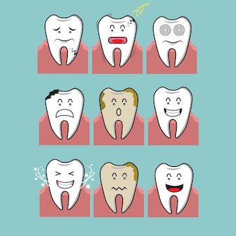Illustration of toothache, tooth caries and healthy tooth concept.