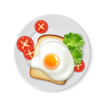 Illustration of top view fried egg on toast of bread for breakfast on plate with slices of tomatoes isolated on white background