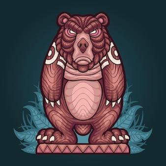 Illustration of totem bear statue