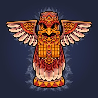 Illustration of totem eagle statue