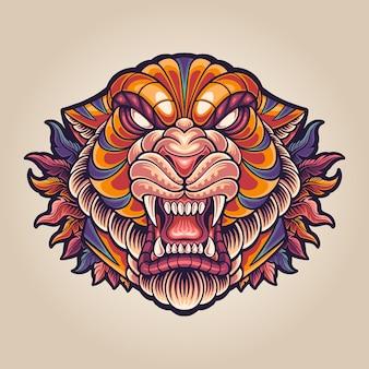 Illustration of totem tiger mascot logo