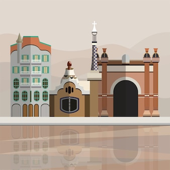 Illustration of tourist attractions in barcelona spain