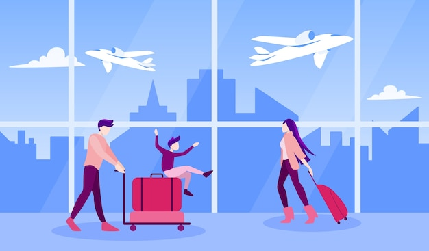 Illustration of tourist with laggage and handbag. family trip, businessman with a suitcase.  collection of characters on their journey, family vacation or business trip