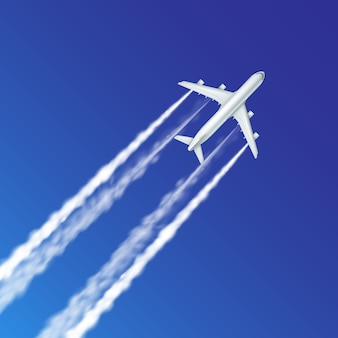 Illustration of trace of plane, aircraft with jet contrails in clear blue sky close up