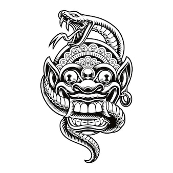 A illustration of a traditional bali mask with a snake. this design can be used as a shirt print as well as for many other uses.