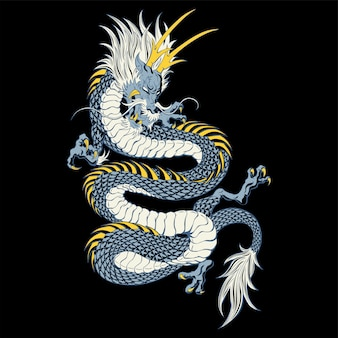 Illustration of traditional chinese dragon chinese character translate dragon