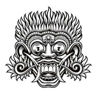 A illustration of traditional indonesian mask barong. this illustration can be used as a shirt print as well as for other uses.