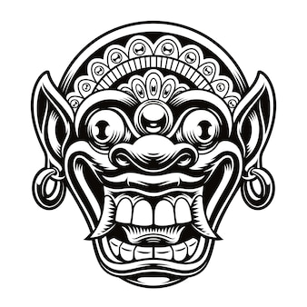 A illustration of traditional indonesian mask. this illustration can be used as a shirt print or as a logotype.
