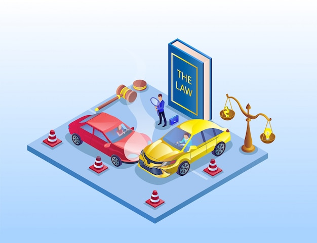 Illustration of traffic accident investigation isometric.