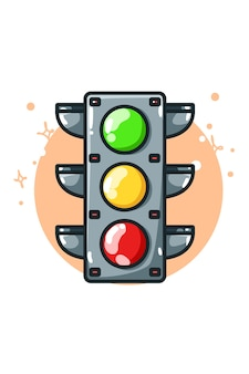 Illustration of a traffic lights hand drawing
