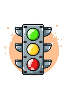 Illustration of a traffic lights hand drawing
