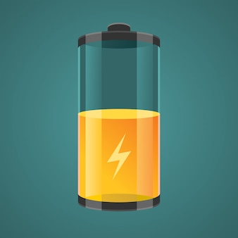 Illustration transparent charged batteries