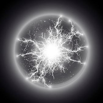 Illustration. transparent light effect of electric ball lightning. magic plasma ball.