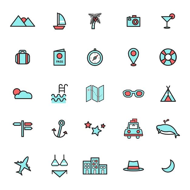 Illustration of travel icons set