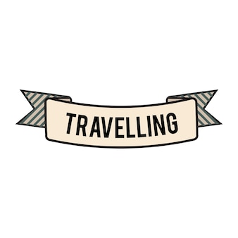Illustration of travel ribbon banner vector