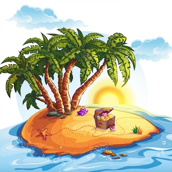 Illustration of treasure island with a trunk