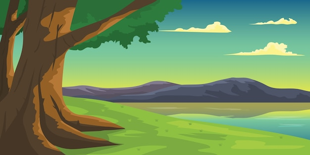 Illustration tree with beautiful lake mountain view