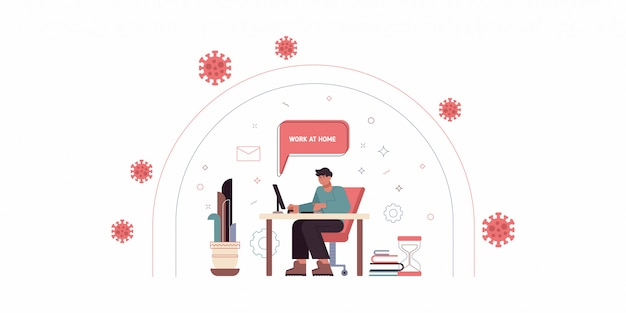 Illustration in trendy flat linear style - man character working at the laptop sitting in the armchair with cat - home office and remote creative team member - outsource and freelance work