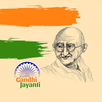 Illustration of tricolor india background with mahatma gandhi