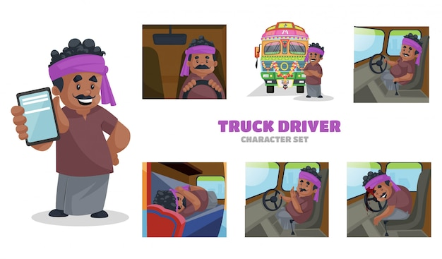 Illustration of truck driver character set