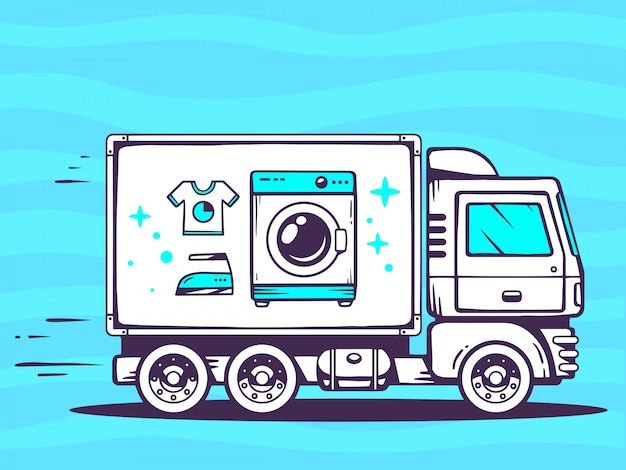 Illustration of truck free and fast delivering washing machine to customer on blue background.