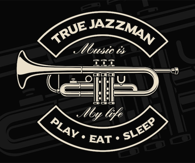 Illustration of trumpet on the dark background. text is on the separate group.