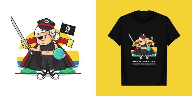Illustration and tshirt of cute grandma wearing pirate costume
