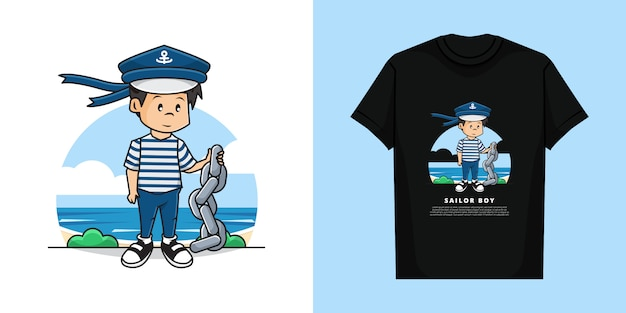 Illustration and tshirt template design of cute sailor boy character holding the chain..