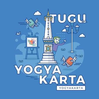 Illustration of tugu yogyakarta jogja, indonesia landmark