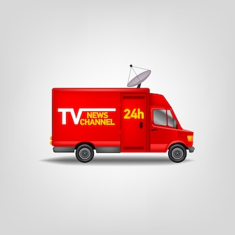 Illustration tv news channel. realistic  van. blue service truck template