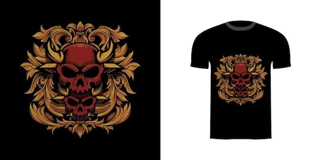 Иллюстрация двойной череп с гравировкой oranament для дизайна футболки