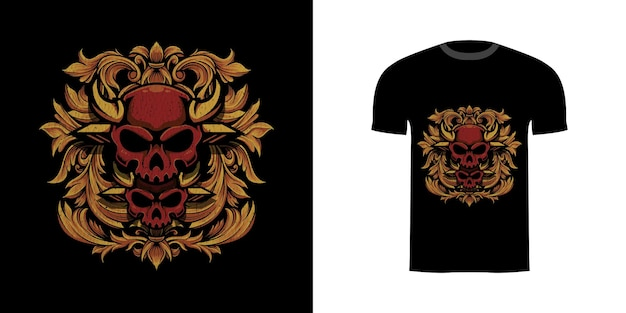 Illustration twin skull with engraving oranament for tshirt design
