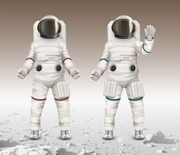 Illustration of two astronauts wearing space suits
