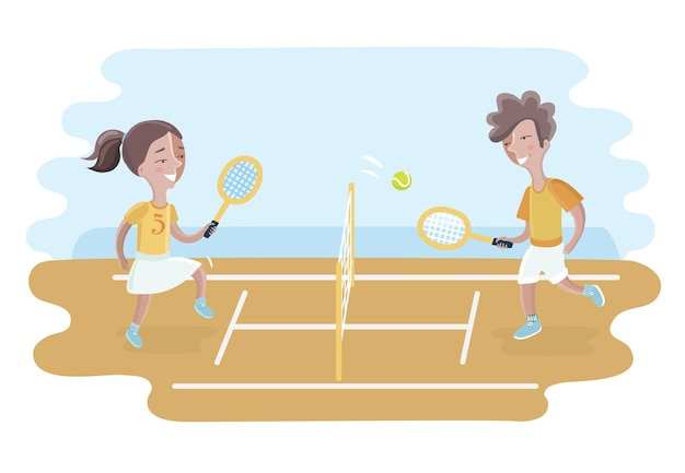 Illustration of two boys playing tennis inside the fence