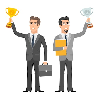 Illustration, two businessman holding cup and smiling, format eps 10