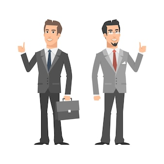 Иллюстрация, два бизнесмена улыбаются и показывают палец вверх, формат eps 10