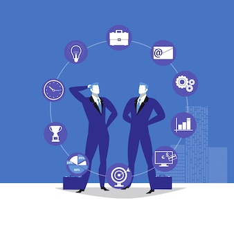 Illustration of two businessmen and business icons