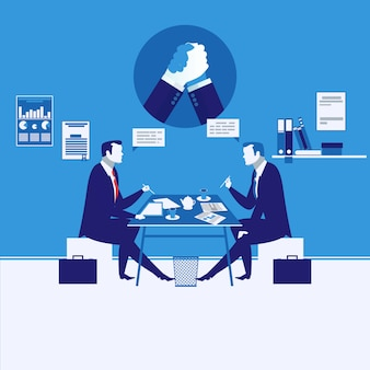 Illustration of two businessmen having meeting