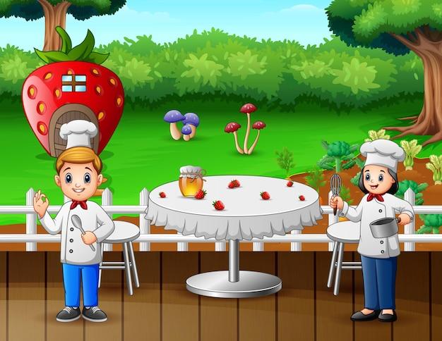 Illustration of two chefs preparing food in restaurant