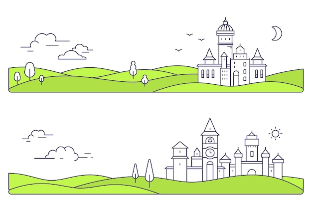 Illustration of two city landscape