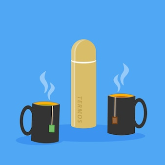 Illustration of two cups of tea with tea bags inside and closed thermos with hot drink