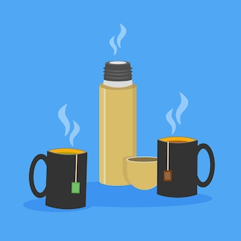 Illustration of two cups of tea with tea bags inside and opened thermos