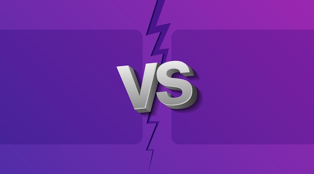 Illustration of two empty frames and vs letters on ultraviolet background with lightning.