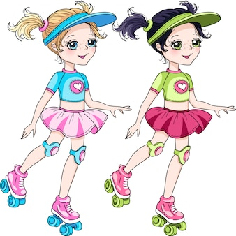 Illustration two girls roller blading