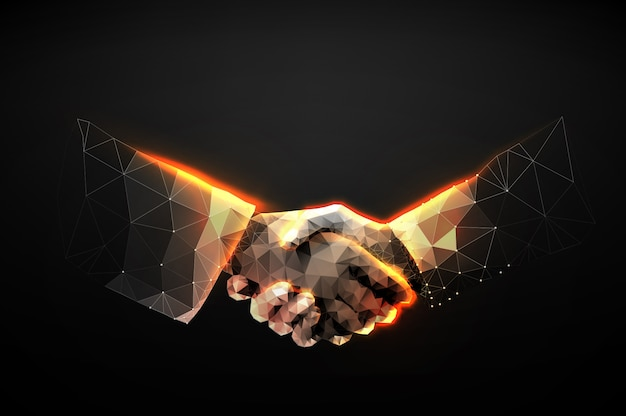 Illustration of two hands handshake in the form of a starry sky or space